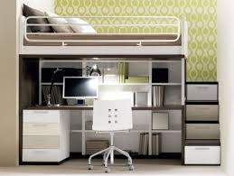 saving space bedroom with gray and white solid wood bunk bed built in desk and storage stair also open shelves plus dresser as well as childrens beds with bunk bed dresser desk