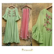 Spring <b>Summer</b>. <br> Mint green anarkali with floral embroidery ...