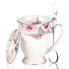AWHOME Royal Fine <b>Bone China Coffee</b> Mugs Spoon and Lid <b>Tea</b> ...