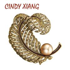 <b>CINDY XIANG</b> 2 <b>Colors</b> Avaible Rhinestone Large Feather Brooch ...