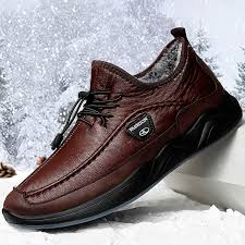 Men Plush Lining Warm Elastic Lace <b>Non Slip Casual Leather Shoes</b>