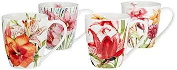 Eileen's Reserve 12-Oz New <b>Bone China</b> Floral Mug Set for <b>Coffee</b>