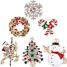Christmas Brooch Pin Set Multi-Colored Rhinestone ... - Amazon.com