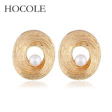<b>HOCOLE</b> Vintage Simple <b>Style</b> Round Circle Stud Earrings with ...