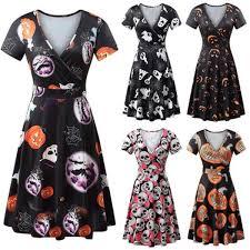 Plus Size <b>Gothic Style Halloween Printed</b> Women V-neck Short ...