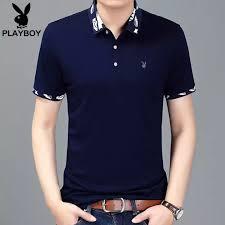 PLAYBOY Flagship Short Sleeve T-shirt <b>Male Summer Business</b> ...