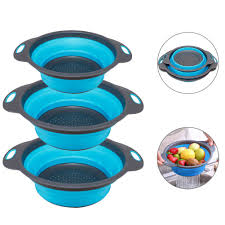 【<b>2019 New</b> Version】3-Packs Blue Round <b>Kitchen</b> Collapsible ...