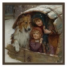 <b>Холст 50</b>×<b>50</b> Дети и собака, <b>зима</b> #2305380 от Apfelbaum