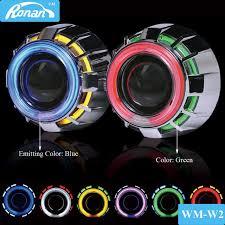ronan 2 5bi xenon projector lens white switchback yellow led angel eyes h4 h7 car headlight retrofit turn signal car styling