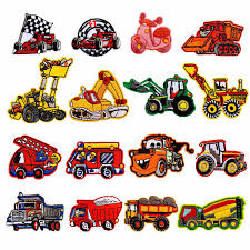 <b>Cartoon</b> Cars Patches Embroidered Clothing Stripes <b>Excavator</b> ...
