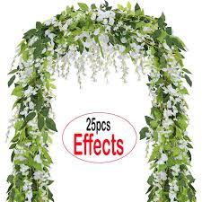 Coolamde 4Pcs Artificial Flowers 6.6ft Silk Wisteria Ivy Vine <b>Green</b> ...