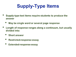 edu session writing supply items short answer and essay 7 supply type
