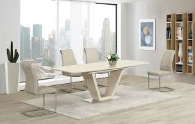 dining room designer furniture exclussive high: white extendable dining table with floating white chairs