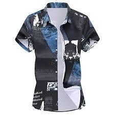Buy Bonuo Fashion Men Imitation Newspaper <b>Print Short Sleeve</b> ...