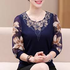 Autumn 2019 Hollow out Lace <b>Women</b> Blouse Shirt Older <b>Women</b> ...