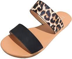 Women Flat Sandals <b>Summer</b> Cute Vintage 2-Strap Roman <b>Leopard</b> ...