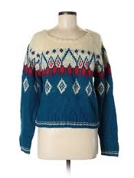 Assorted Brands <b>Pullover Sweater</b>: Blue Color Block Tops - Size ...