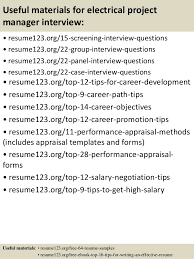 top  electrical project manager resume samples       useful materials for electrical project manager