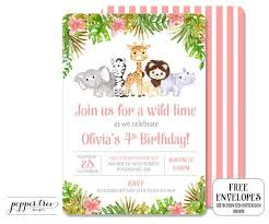Safari Birthday Invitation Girl Birthday - Girl Safari Invitation in <b>Pink</b> ...