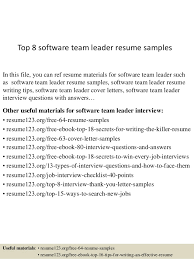top  software team leader resume samplestop  software team leader resume samples in this file  you can ref resume materials