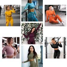 Women <b>Yoga</b> Set Gym <b>Seamless 2 Piece</b> Suit High Waist Pants And ...