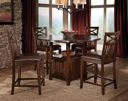 4 chair kitchen table:  amazing high dining table set modern brown varnished wood storage dining table set high top dining