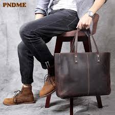 <b>PNDME</b> high quality crazy horse <b>leather</b> men's briefcase messenger ...