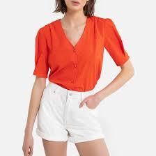 <b>Рубашка</b> с v-образным вырезом и короткими рукавами ...