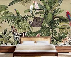 <b>Beibehang Custom Wallpaper</b> Retro <b>Tropical</b> Rainforest Animal ...