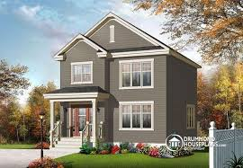 House plan W  V detail from DrummondHousePlans comfront   BASE MODEL Very affordable American classic storey home  bedroom narrow lot