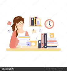 w office worker in office cubicle too much work having w office worker in office cubicle too much work having her daily routine situation cartoon