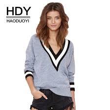 2019 <b>HDY Haoduoyi Autumn Winter</b> Fashion Stripe V Neck Long ...