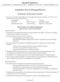sample resume automotive service manager director service manager resume examples