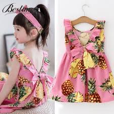 <b>Summer</b> Pineapple <b>Girls Dress</b> Pink Cotton Sleeveless <b>Kids Dress</b> ...