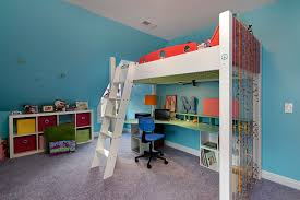loft bed with desk underneath kids contemporary with aqua blue bead curtain bed with office underneath