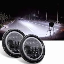 2pcs <b>7 inch 12V</b> 24V Angel Eyes LED Headlight DRL Lights <b>6000K</b> ...