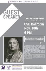 Nov. <b>10</b>: Guest Speaker Duane <b>Hollow</b> Horn <b>Bear</b> — Minnesota ...