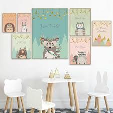NDITB <b>Cartoon</b> Woodlan <b>Animal Canvas</b> Poster Llama Fox Wall Art ...