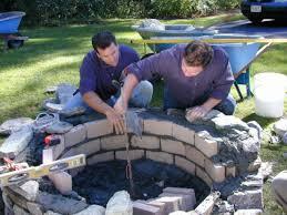 patio flagstone firepit installation traditional step  droc seg  build up bodyjpgrendhgtvcom
