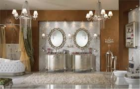 two modern chandelier lightsin bathroom lighting design with two framed oval mirrors above two silver chandeliers glamorous pendant lighting bathroom vanity