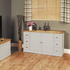 baumhaus chadwick small sideboard with six drawers grey painted with oak top chadwick satin lacquered oak hidden
