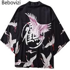 <b>Bebovizi Japan Style</b> Crane Print Men <b>Streetwear</b> Kimono Cardigan ...