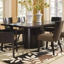 brown dining table sets modern dining table leaves patterned carpet brown chair white big flow