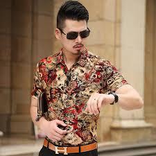 Мужская рубашка с цветочным принтом, новинка 2017 ...