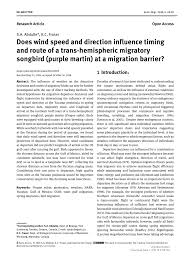 (PDF) Does wind speed and direction influence timing and route of a ...