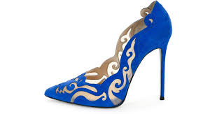 Rene Caovilla <b>Laser</b>-cut Suede <b>Illusion</b> Pump in <b>Blue</b> - Lyst