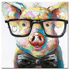 Fokenzary <b>Hand</b> Painted <b>Cute</b> Pig with Glasses Pop <b>Wall</b> Art Canvas...