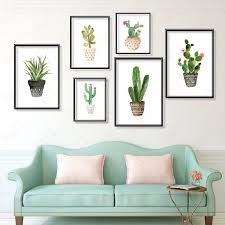 green cactus <b>modular</b> plants <b>pictures wall</b> print <b>pictures</b> for room ...