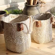 Home Garden <b>Foldable Seagrass Rattan Baskets</b> – Thrift Barn