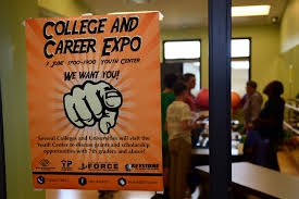 photos a college and career expo poster hangs on a window 3 2016 at